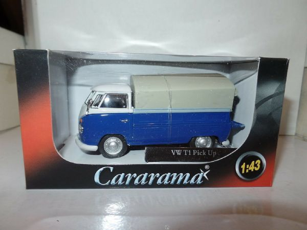 Cararama Oxford 1/43 Scal VW Volkswagon T1 Transporter Covered Pickup Blue White